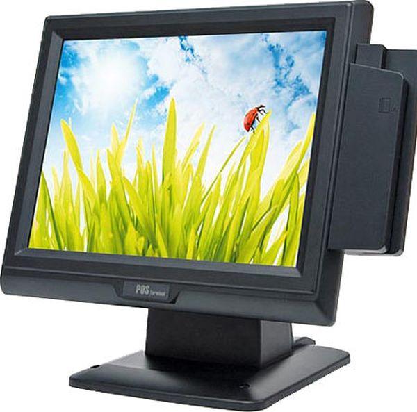 Сенсорный терминал ШТРИХ TouchPOS 355 чёрный (15 TFT, Intel Celeron M 1,5 ГГц, ОЗУ 1 Гб, HDD 160 Гб, MSR на 3 дорожки, без ДП, без ОС)