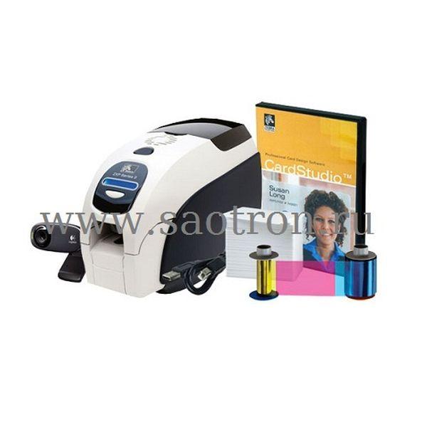 Принтер пластиковых карт Zebra QuikCard ZXP3 (односторонний цветной, USB, ПО CardStudio, Вебкамера, 200 карт, риббон) Zebra Z31-0000B200EM00